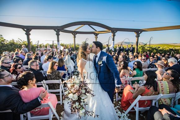 Yvonne + Nirav - Wilson Creek Winery Ceremony Kiss